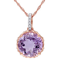Genuine Amethyst and Diamond-Accent 10K Rose Gold Pendant Necklace