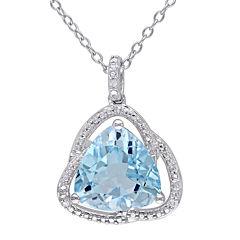 Genuine Sky Blue Topaz and Diamond–Accent Pendant Necklace