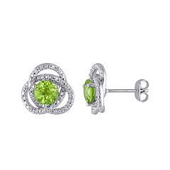 Genuine Peridot and 1/10 CT. T.W. Diamond Earrings
