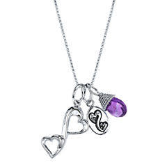 Love Grows™ Genuine Amethyst Heart Charm Pendant Necklace