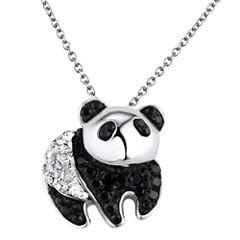 Sterling Silver Black & Clear Crystal Panda Pendant