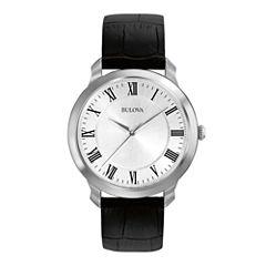 Bulova® Mens Black Leather Strap Watch 96A133