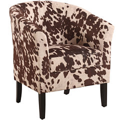 Cowprint Upholstered Club Chair