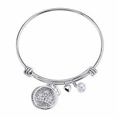 Disney Womens Silver Over Brass Charm Bracelet
