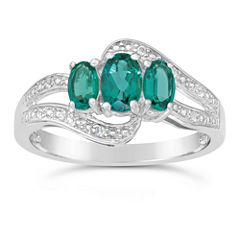 Womens Lab Created Emerald Sterling Silver 3-Stone Ring