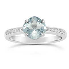 Womens Blue Aquamarine Sterling Silver Halo Ring