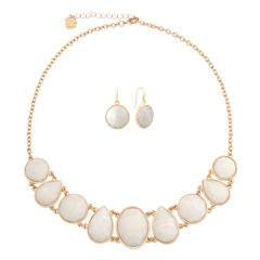 Monet Jewelry Womens 2-pc. White Goldtone Casual Necklace Set