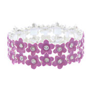 Liz Claiborne Womens Stretch Bracelet Purple Silvertone