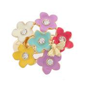 Liz Claiborne Womens Flower Stretch Ring Multi And Goldtone