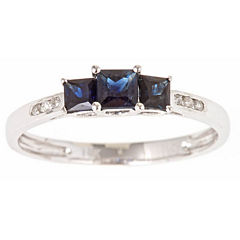 LIMITED QUANTITIES! Womens Diamond Accent Blue Sapphire 10K Gold Cocktail Ring
