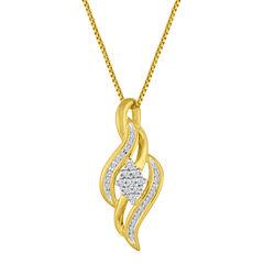 White Diamond Round Gold Over Silver Pendant
