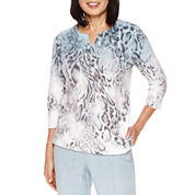 Alfred Dunner Northern Lights 3/4 Sleeve V Neck Animal Print Top