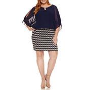 Perceptions Elbow Sleeve Cold Shoulder Blouson Dress-Plus