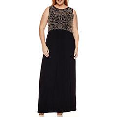 Jackie Jon Sleeveless Beaded Evening Gown-Plus