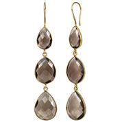 Brown Quartz Gold Over Silver Drop Earrings