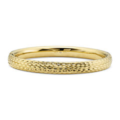 Gold Opulence 14KGold Over Diamond Resin Diamond-Cut Bangle