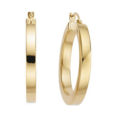 Gold Opulence 14K Gold Over Diamond Resin PolishedSquaredHoop Earrings