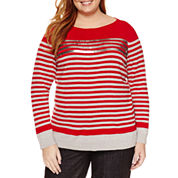 Liz Claiborne Long Sleeve Sequin Stripe Sweater - Plus