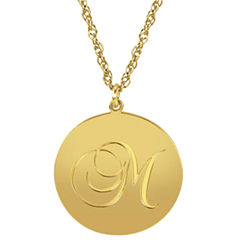 Personalized 14K Gold Over Sterling Silver Initial Pendant Necklace
