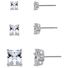 Sterling Silver Square Cubic Zirconia Earring Set