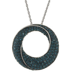Blue Crystal Circle Pendant Necklace Sterling Silver
