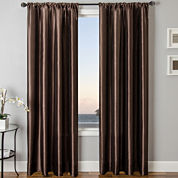 Sedro Solid Faux-Silk Rod-Pocket Curtain Panel