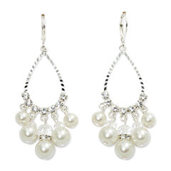 Vieste® Simulated Pearl & Crystal Teardrop Earrings