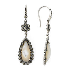 Marcasite and Mother-of-Pearl Drop Earrings
