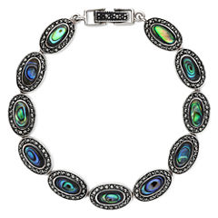 Marcasite and Abalone Shell Link Bracelet