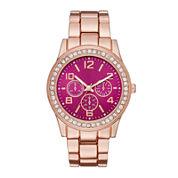 Womens Crystal-Accent Red Dial Boyfriend Bracelet Watch