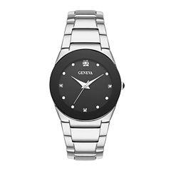 Geneva Womens Crystal-Accent Silver-Tone Bracelet Watch