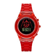 Star Wars® Darth Vader Kids Red Silicone Strap Flashing LCD Digital Watch