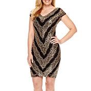 Blu Sage Cap-Sleeve Sequin Sheath Dress