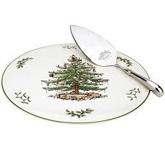 Spode® Christmas Tree Cake Plate with Server