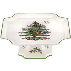 Spode® Christmas Tree Footed Square Cake Plate Stand