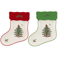 Spode® Christmas Tree Set of 2 Porcelain Stocking-Shaped Dishes