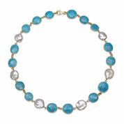 Womens Blue Quartz Gold Over Silver Strand Necklace