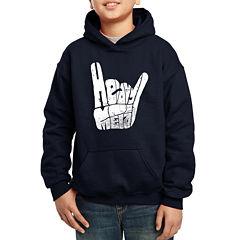 Los Angeles Pop Art Heavy Metal Fingers Words Heavy Metal Hoodie-Big Kid Boys