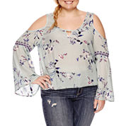 Arizona Cold Shoulder Peasant Top- Juniors Plus