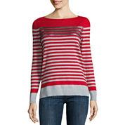 Liz Claiborne Long Sleeve Boat Neck Sequin Stripe Sweater