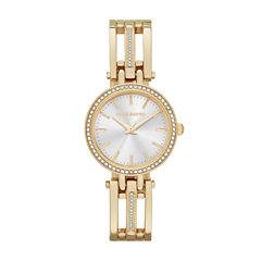 Liz Claiborne® Womens Gold-Tone Bangle Bracelet Watch