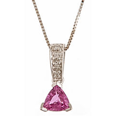 LIMITED QUANTITIES! Diamond Accent Pink Sapphire 14K Gold Pendant Necklace