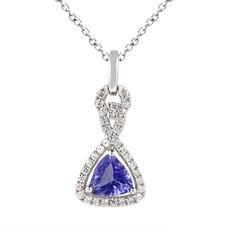 Womens Blue Tanzanite Sterling Silver Pendant Necklace