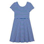 Total Girl Blue White Stripe Short Sleeve Skater Dress - Big Kid