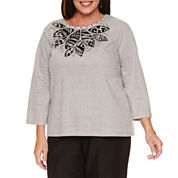 Alfred Dunner Casual Friday  3/4 Sleeve Crew Neck T-Shirt-Plus