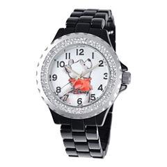 Disney Womens Winnie the Pooh Black Enamel Sparkle Watch