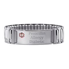 Personalized Mens Medical ID Stretch Bracelet