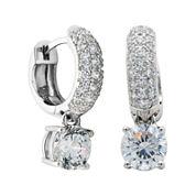 100 Facets by DiamonArt® Cubic Zirconia Sterling Silver Drop Hoop Earrings