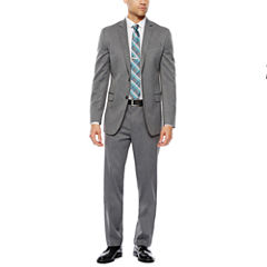 JF J.Ferrar Stretch Gray Herringbone Suit Separate-Slim Fit