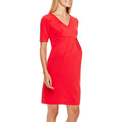 Maternity Elbow-Sleeve Dress - Plus